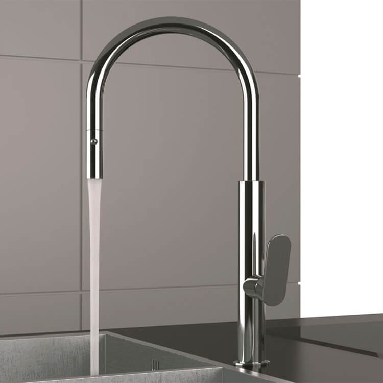 Chrome One Hole Kitchen Faucet