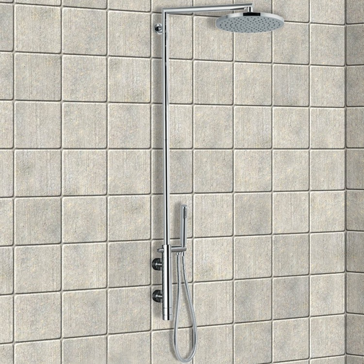 Exposed Pipe Shower, Remer NT36BXLUS, External Thermostatic Shower Single Lever Mixer Shower Set with Hand Shower and Shower Head