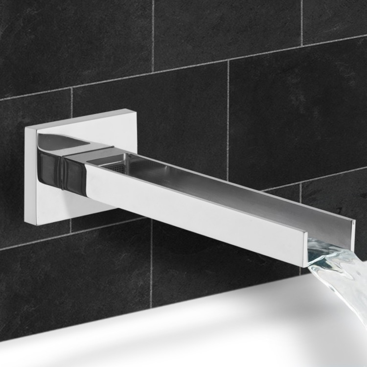 Tub Spout, Remer 91QCUS-CR, Built in Waterfall Spout with Built in Aerator