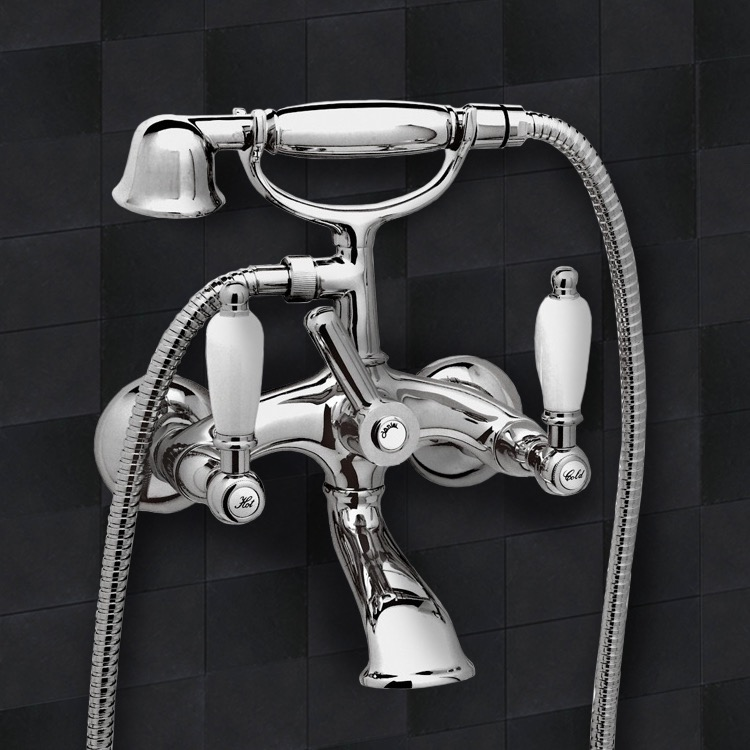 Tub Filler, Remer LR02US, Chrome Wall Mount Telephone Bathtub Faucet
