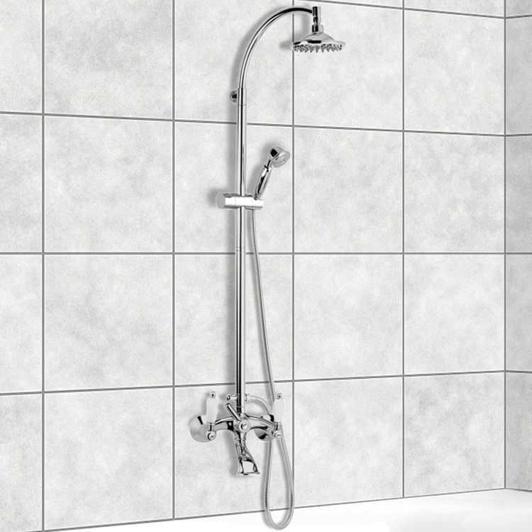 exposed pipe shower . Exposed Pipe Shower  Remer LR09US Wall Mounted Bathtub Mixer With Sliding Rail And By Nameek S Retro
