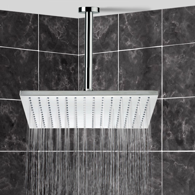 12 Ceiling Mount Rain Shower Head With Arm Chrome