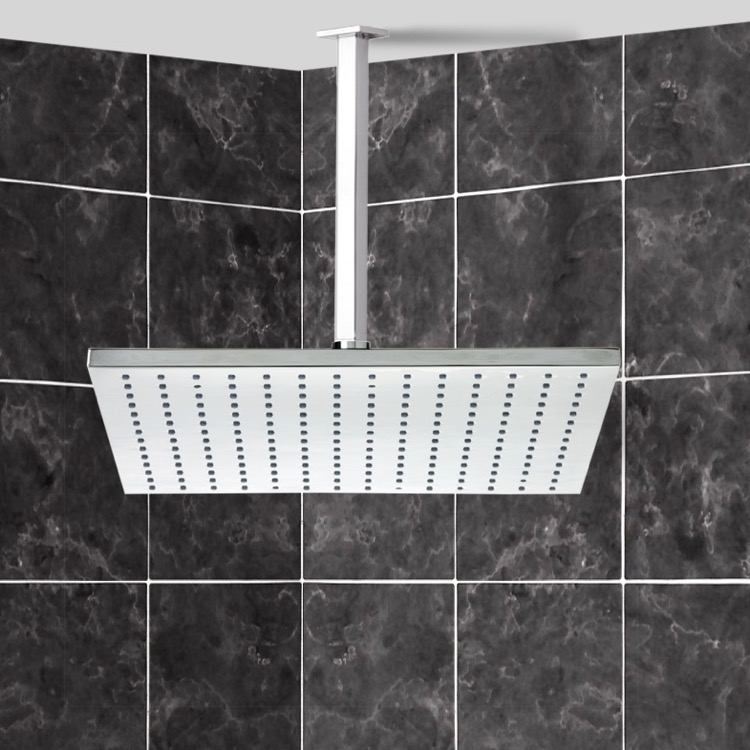 Shower Head, Remer 347S 359SSL, Square Modern Shower Head With Shower Arm
