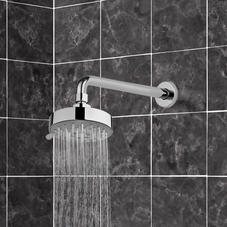 Shower Head, Gedy SUP1122, Chrome Five Function Shower Head and 12 Inch Stainless Steel Shower Arm