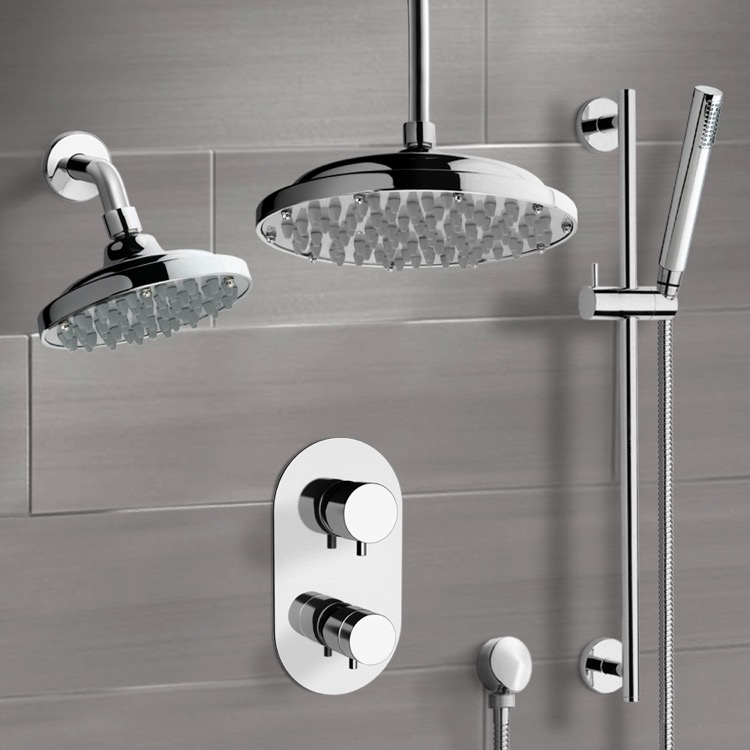 Shower Faucet, Remer DCS04, Chrome Dual Shower Head System With Hand Shower