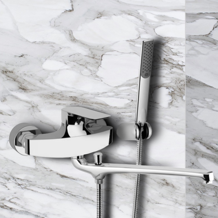Tub Filler, Remer I49, Chrome Wall Mount Tub Faucet with Long Swivel Spout and Hand Shower