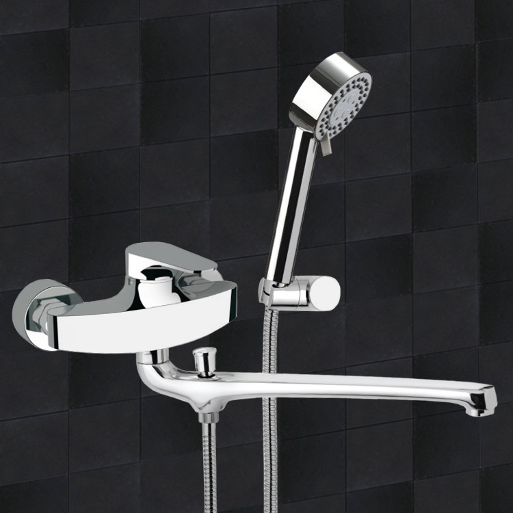 Tub Filler, Remer L49US, Basin and Bath Single Lever Mixer With Hand Shower and Bracket