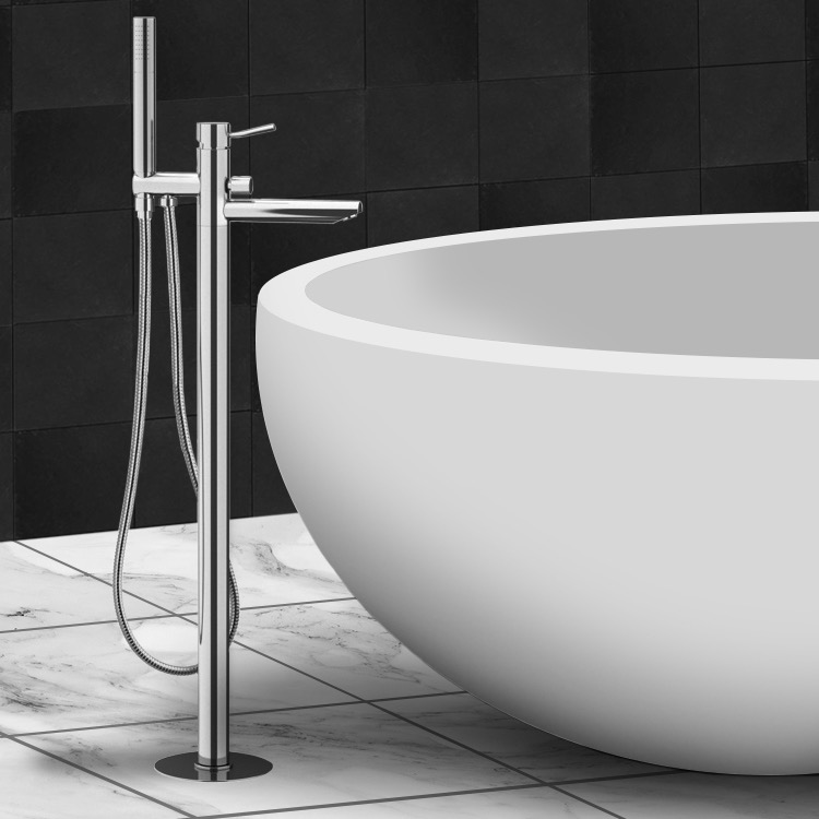 Tub Filler, Remer N08, Chrome Floor Mount Tub Filler with Hand Held Shower
