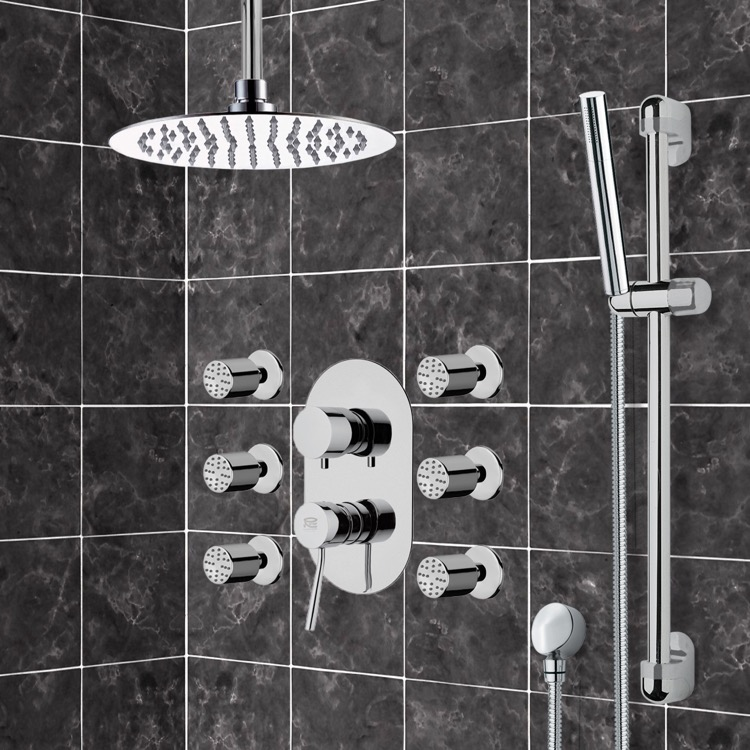 Shower Faucet, Remer R5, Chrome Shower System with Ceiling 10