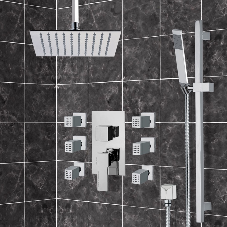 Shower Faucet, Remer S5, Chrome Shower System with Ceiling 10