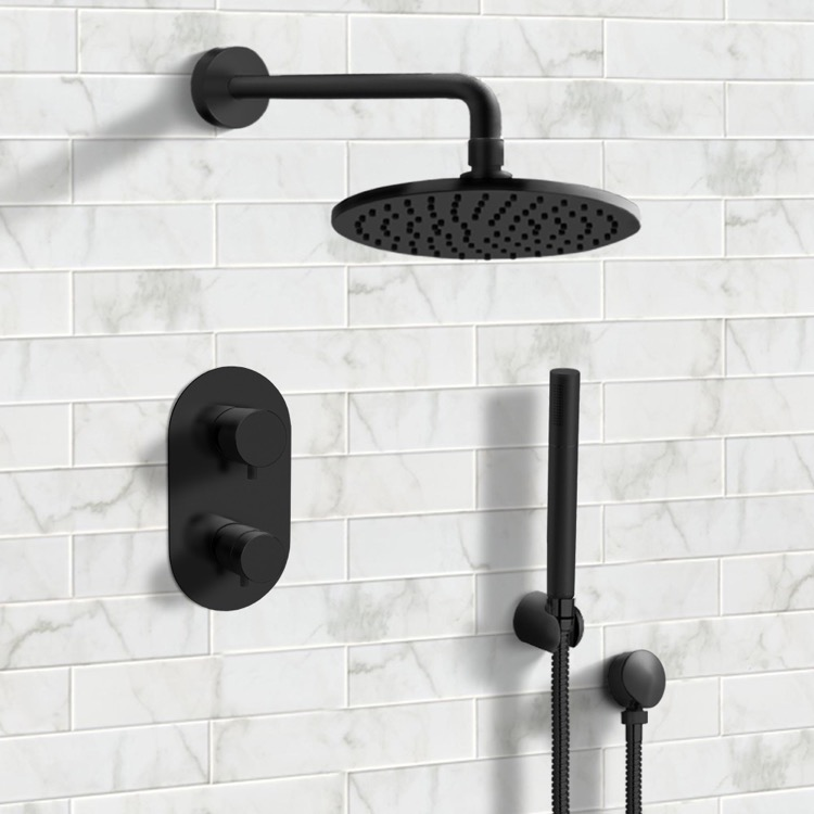 Shower Faucet, Remer SFH31, Matte Black Thermostatic Shower System with 8