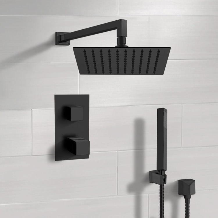 Shower Faucet, Remer SFH37-10, Matte Black Thermostatic Shower Set with 10