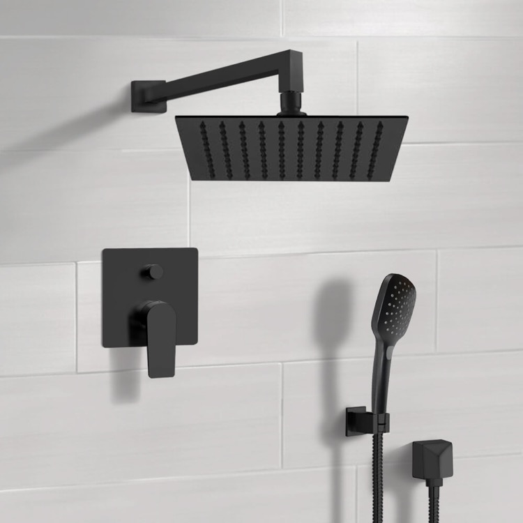 Shower Faucet, Remer SFH55-10, Matte Black Shower Set With 10