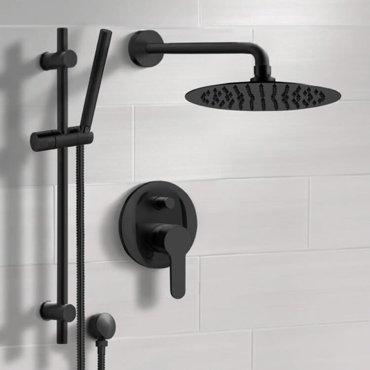 Shower Faucet, Remer SFR44-10, Matte Black Shower System With 10