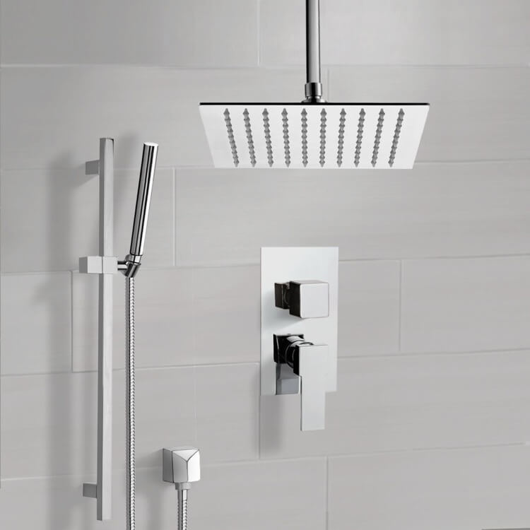 Shower Faucet, Remer SFR51-10, Chrome Ceiling Shower System With 10