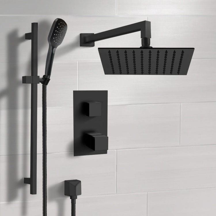 Shower Faucet, Remer SFR57-10, Matte Black Thermostatic Shower Set with 10