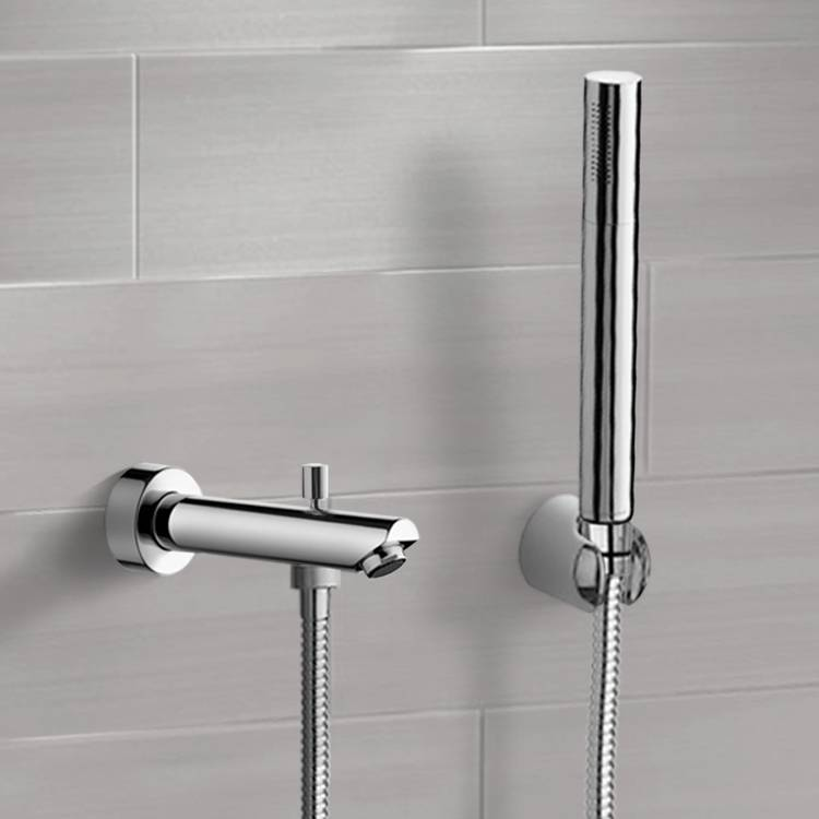 Tub Spout, Remer TDH04, Chrome Wall Mounted Tub Spout Set with Hand Shower
