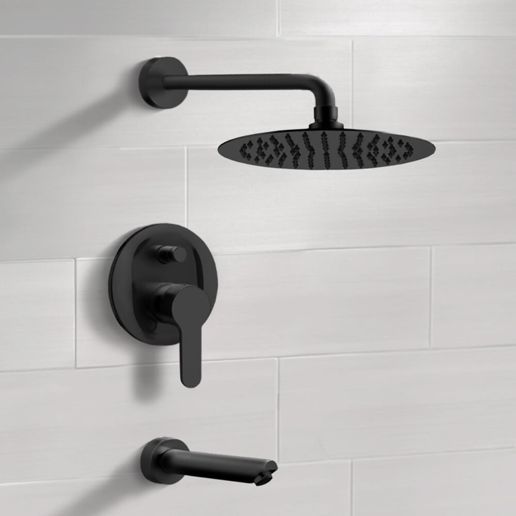 Matte Black Tub And Shower Faucet Set With Rain Head