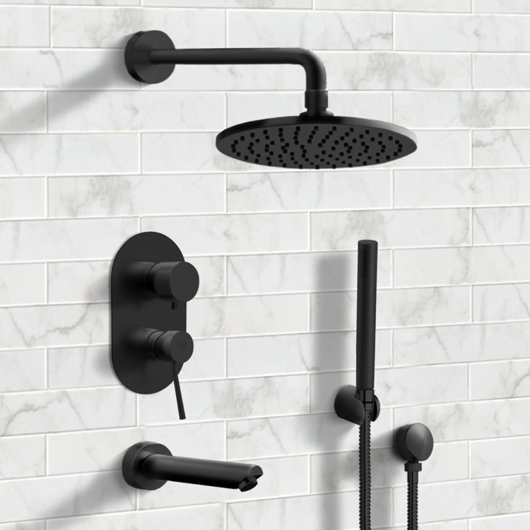 Remer Tsh30 By Nameek S Tyga Matte Black Tub And Shower System With 8 Rain Shower Head And Hand Shower Thebathoutlet