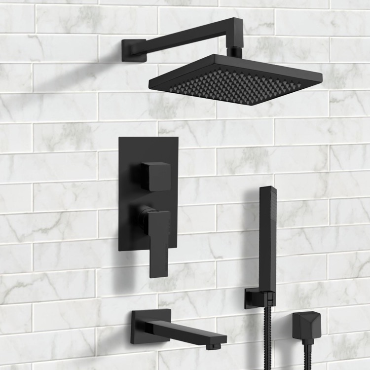 Remer Tsh33 By Nameek S Tyga Matte Black Tub And Shower System With 8 Rain Shower Head And Hand Shower Thebathoutlet