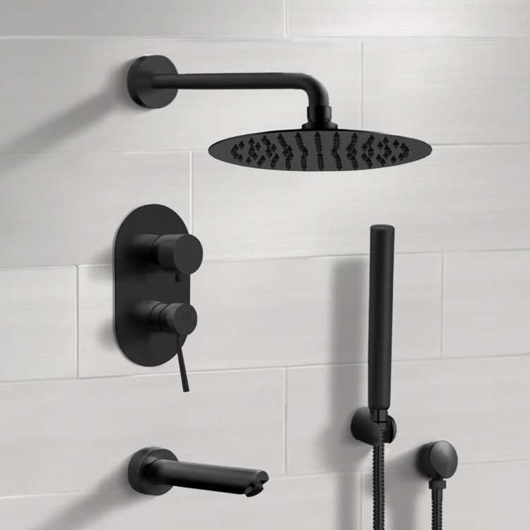 Tub and Shower Faucet, Remer TSH34-10, Matte Black Tub and Shower System with 10