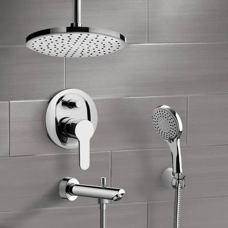 Tub and Shower Faucet, Remer TSH37-8, Chrome Tub and Shower Set with 8