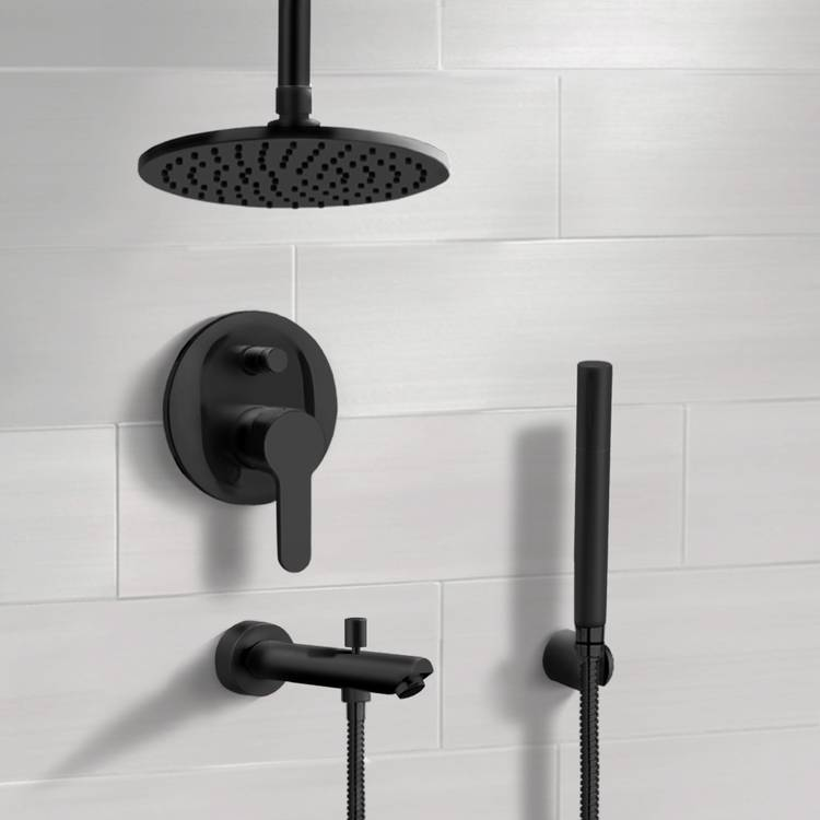 Tub and Shower Faucet, Remer TSH40, Matte Black Tub and Shower Set with 8