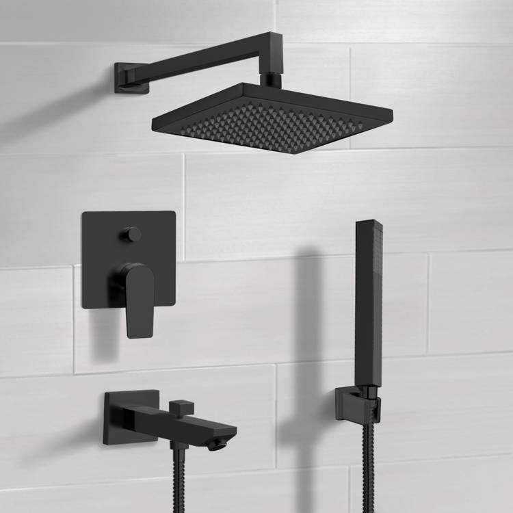 Tub and Shower Faucet, Remer TSH41, Matte Black Tub and Shower Set with 8