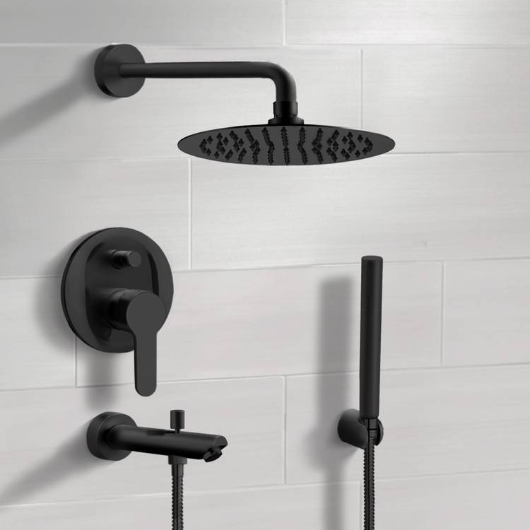 Tub and Shower Faucet, Remer TSH48-10, Matte Black Tub and Shower System With 10