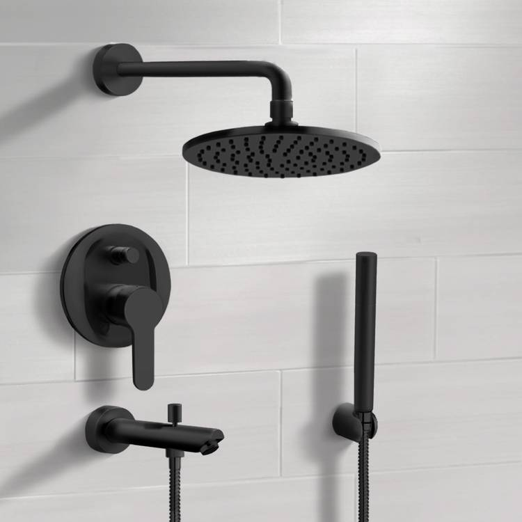 Tub and Shower Faucet, Remer TSH49, Matte Black Tub and Shower Faucet With 8