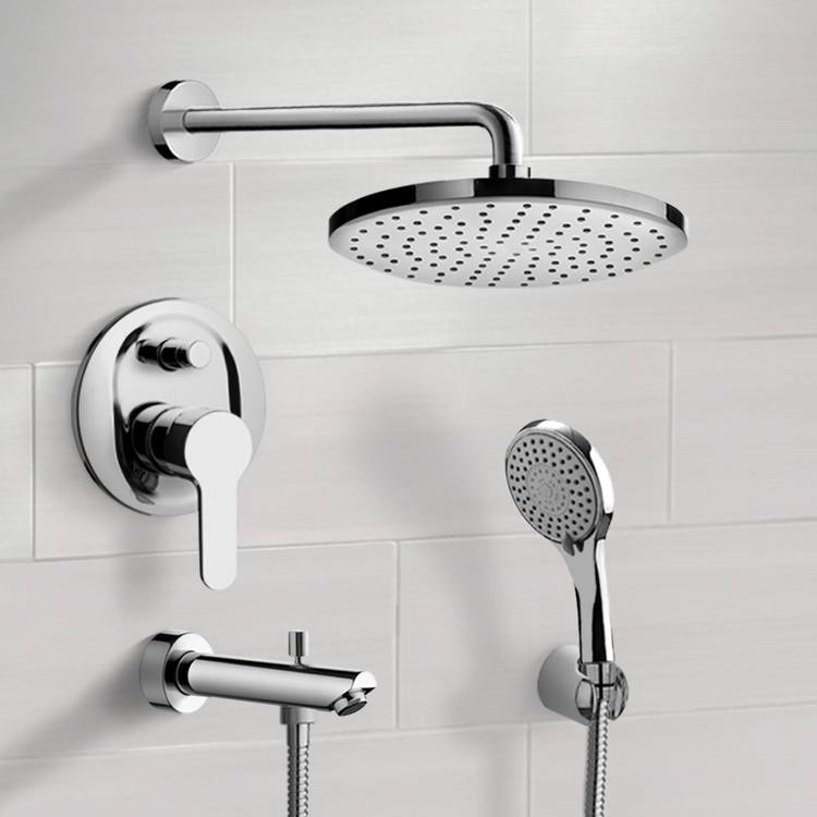 Tub and Shower Faucet, Remer TSH50-8, Chrome Tub and Shower Faucet With 8