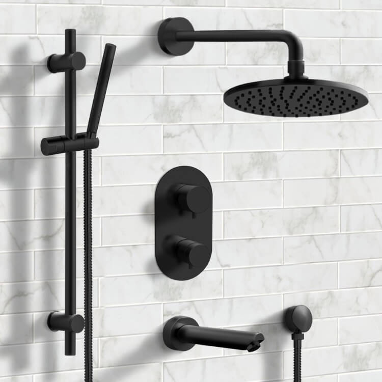 Tub and Shower Faucet, Remer TSR32, Matte Black Thermostatic Tub and Shower System with 8