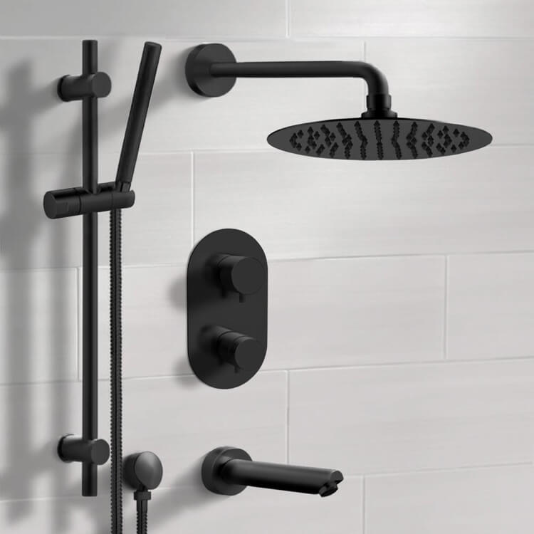 Tub and Shower Faucet, Remer TSR36-10, Matte Black Thermostatic Tub and Shower Faucet Set with 10