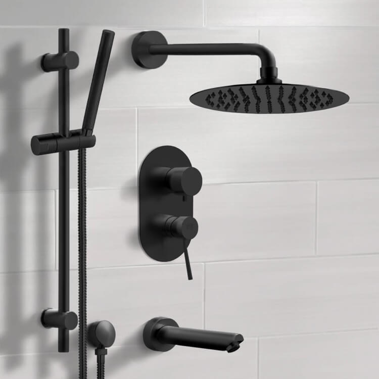 Tub and Shower Faucet, Remer TSR37-10, Matte Black Tub and Shower Faucet Set with 10