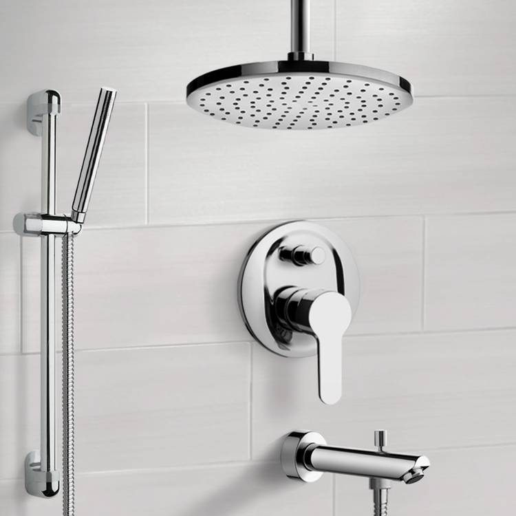 Tub and Shower Faucet, Remer TSR40-8, Chrome Tub and Shower System with 8