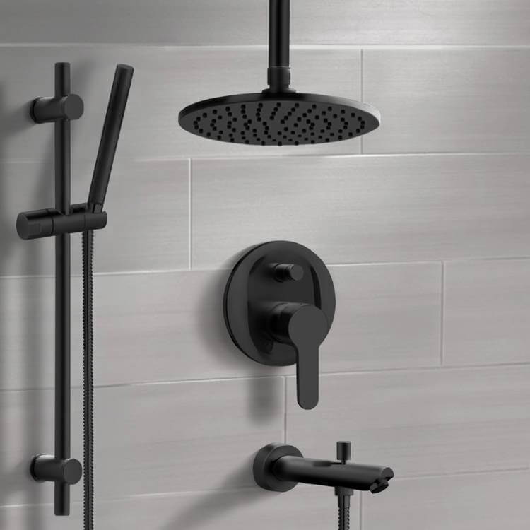Tub and Shower Faucet, Remer TSR42, Matte Black Tub and Shower System with 8