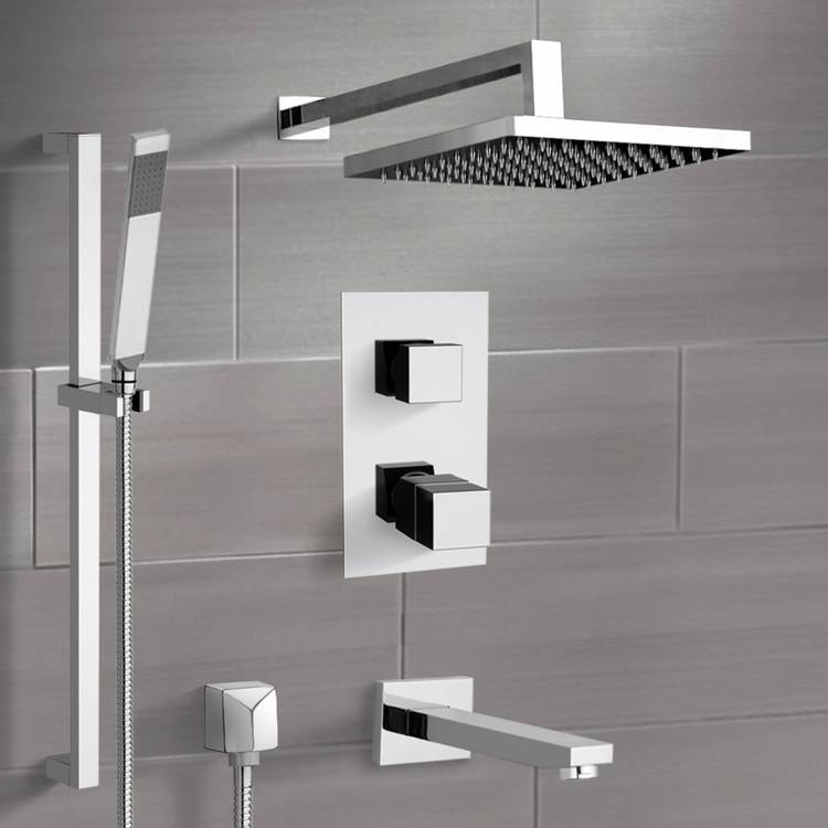 Tub and Shower Faucet, Remer TSR47-8, Chrome Thermostatic Tub and Shower System with 8
