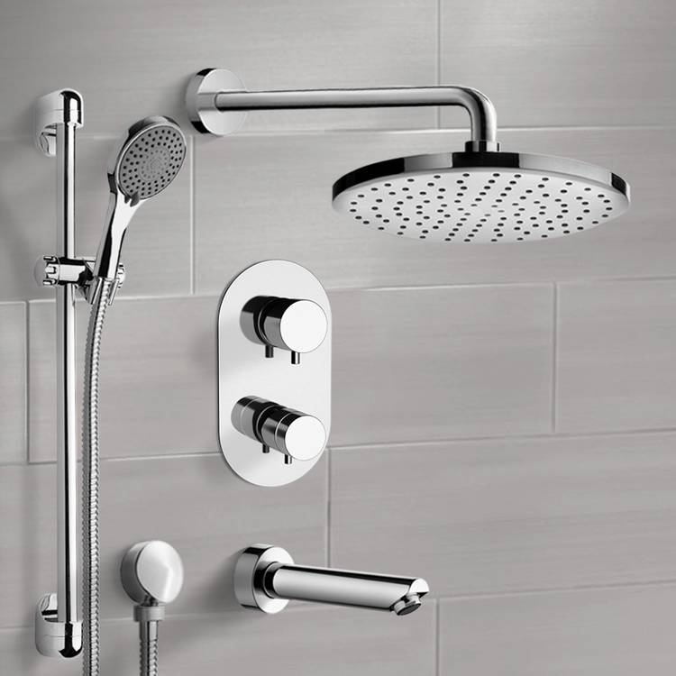 Tub and Shower Faucet, Remer TSR48-8, Chrome Thermostatic Tub and Shower Set with 8