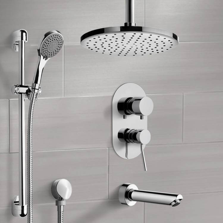 Tub and Shower Faucet, Remer TSR50-8, Chrome Tub and Shower System with 8