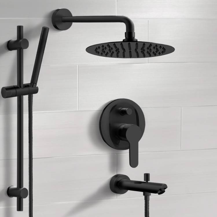 Tub and Shower Faucet, Remer TSR52-10, Matte Black Tub and Shower Faucet Set with 10