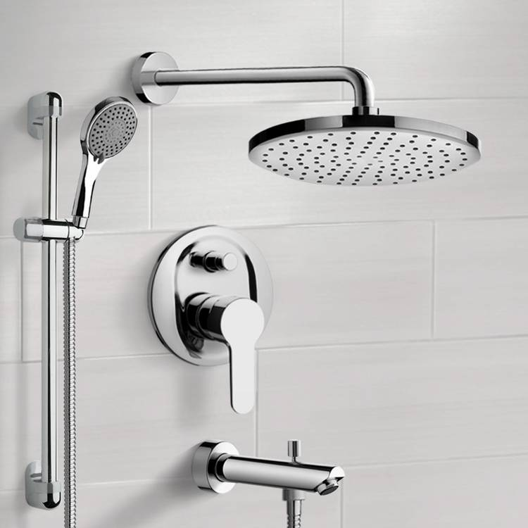 Tub and Shower Faucet, Remer TSR53-8, Chrome Tub and Shower Faucet Set With 8