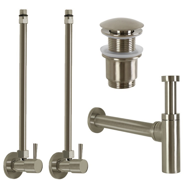 Plumbing Accessory Set, Remer SA400-NP, Satin Nickel All-Inclusive Sink Installation Kit
