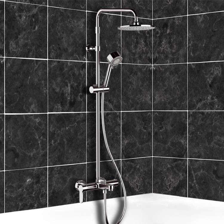 Exposed Pipe Shower, Remer SC546, Chrome Exposed Pipe Tub and Shower System with 8