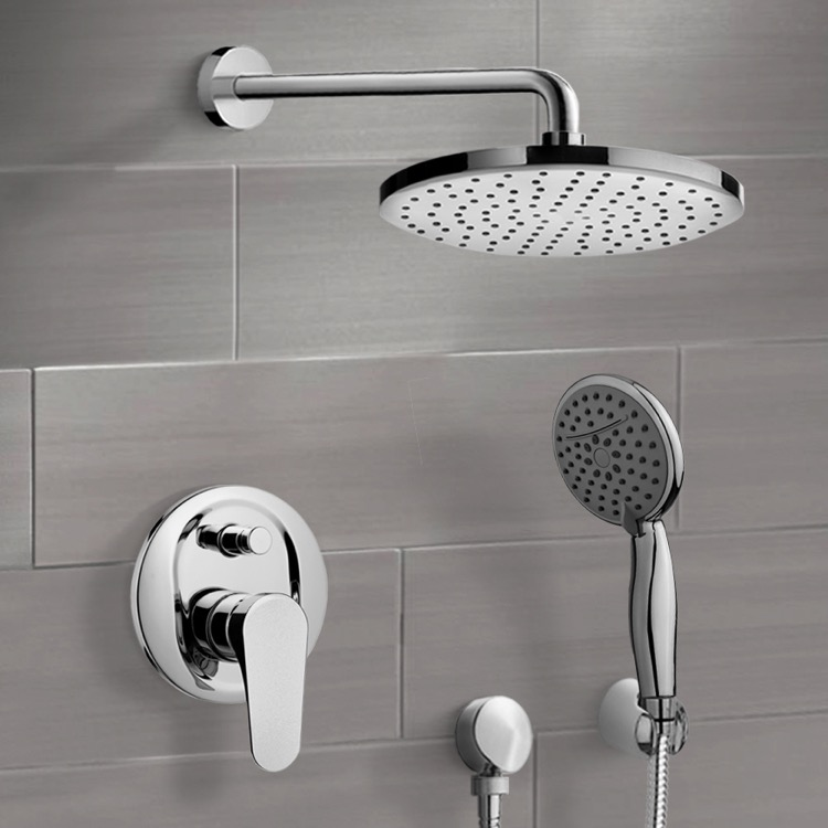 Shower Faucet, Remer SFH6203, Chrome Shower System with Adjustable Shower Head and Hand Shower