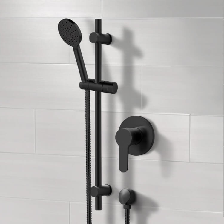 Shower Faucet, Remer SR051, Matte Black Slidebar Shower Set With Multi Function Hand Shower