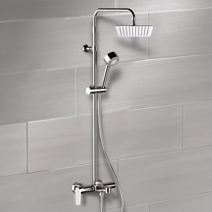 Exposed Pipe Shower, Remer SC547, Chrome Exposed Pipe Tub and Shower System with 8