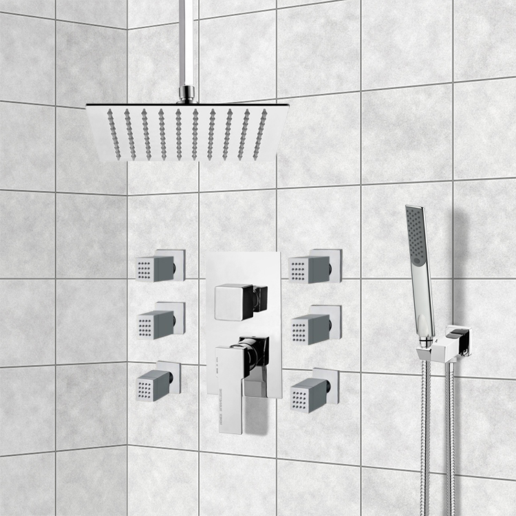 Shower Faucet, Remer S14, Chrome Shower System with Ceiling 10