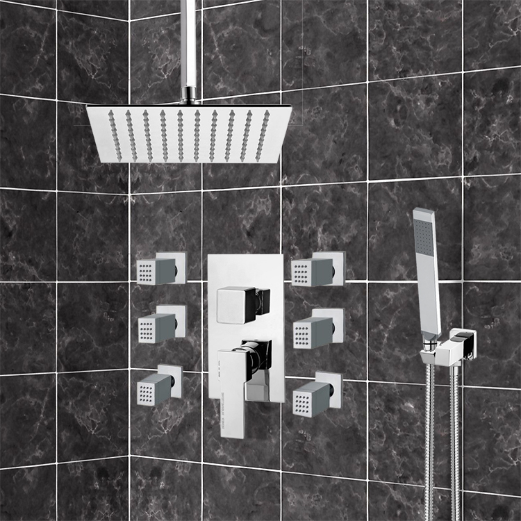 Shower Faucet, Remer S17, Chrome Shower System with Ceiling 10