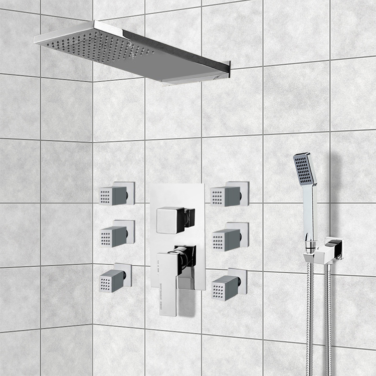 Shower Faucet Remer S24 Chrome System With Rain Head Hand