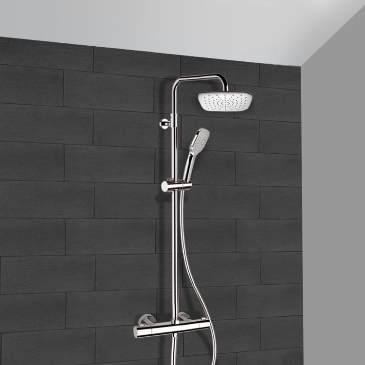 Exposed Pipe Shower, Remer SC500, Chrome Thermostatic Exposed Pipe Shower System with 8